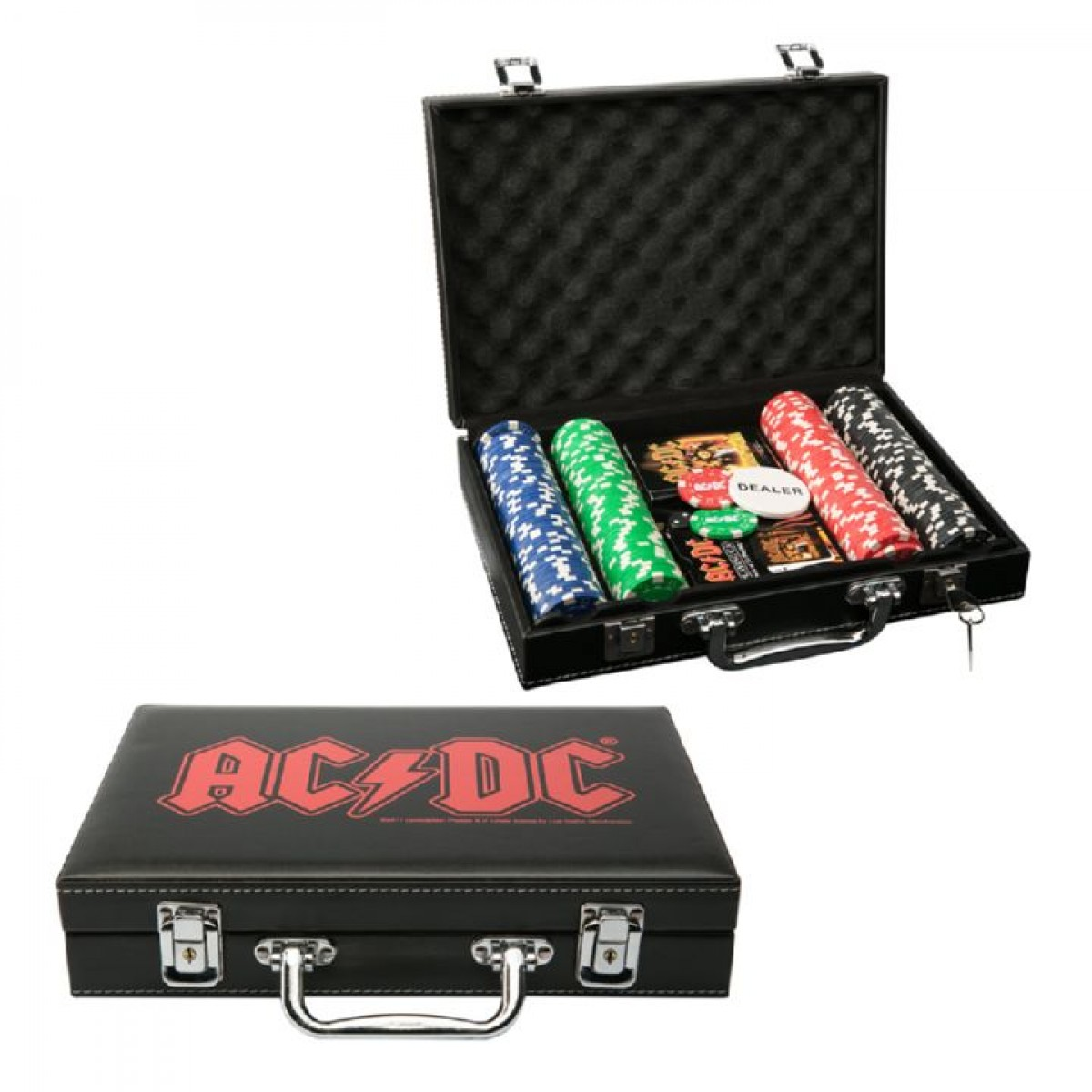 ACDC POKER CHIP SET IN CARRY CASE Man Zone Gift Ideas