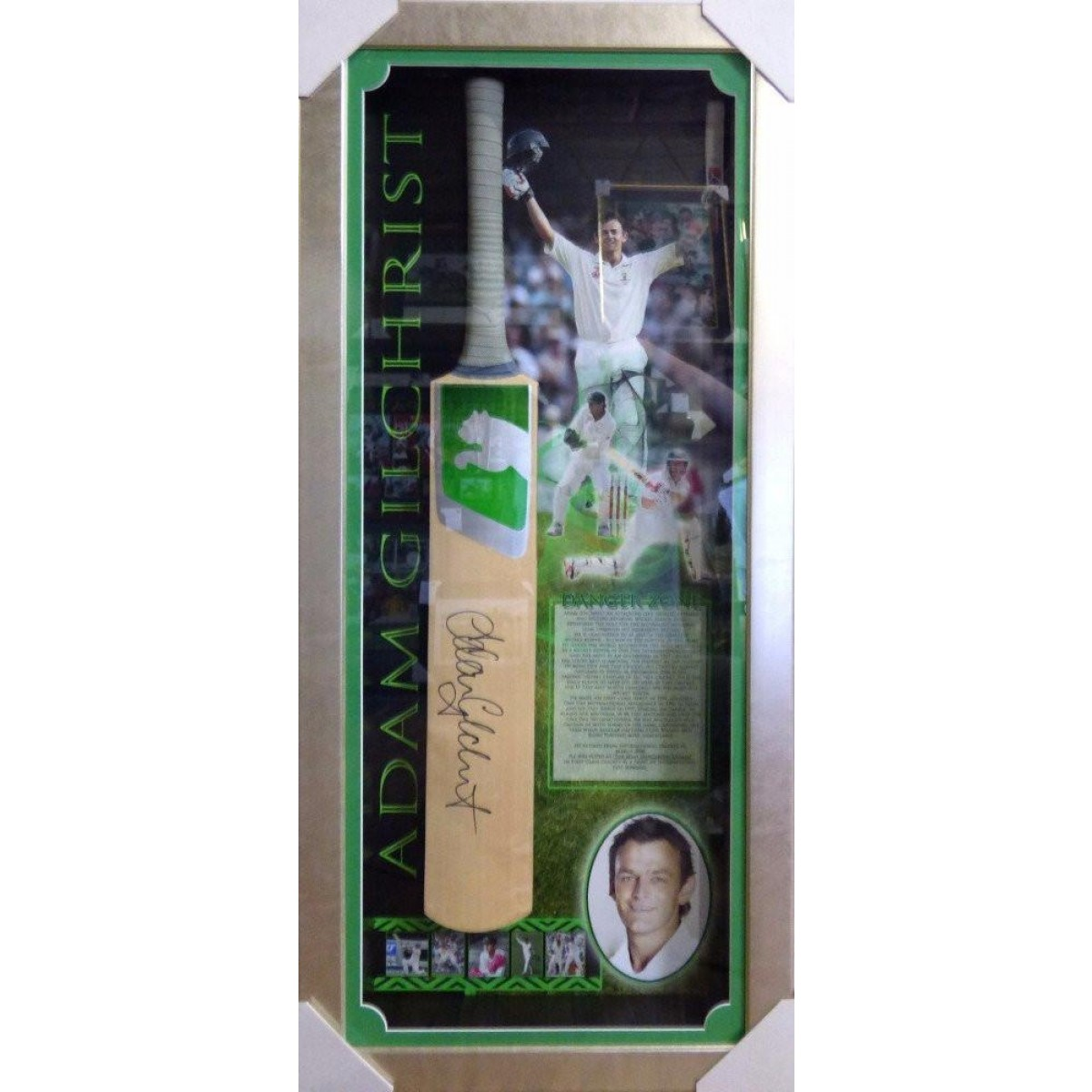 Adam Gilchrist Signed Framed Bat