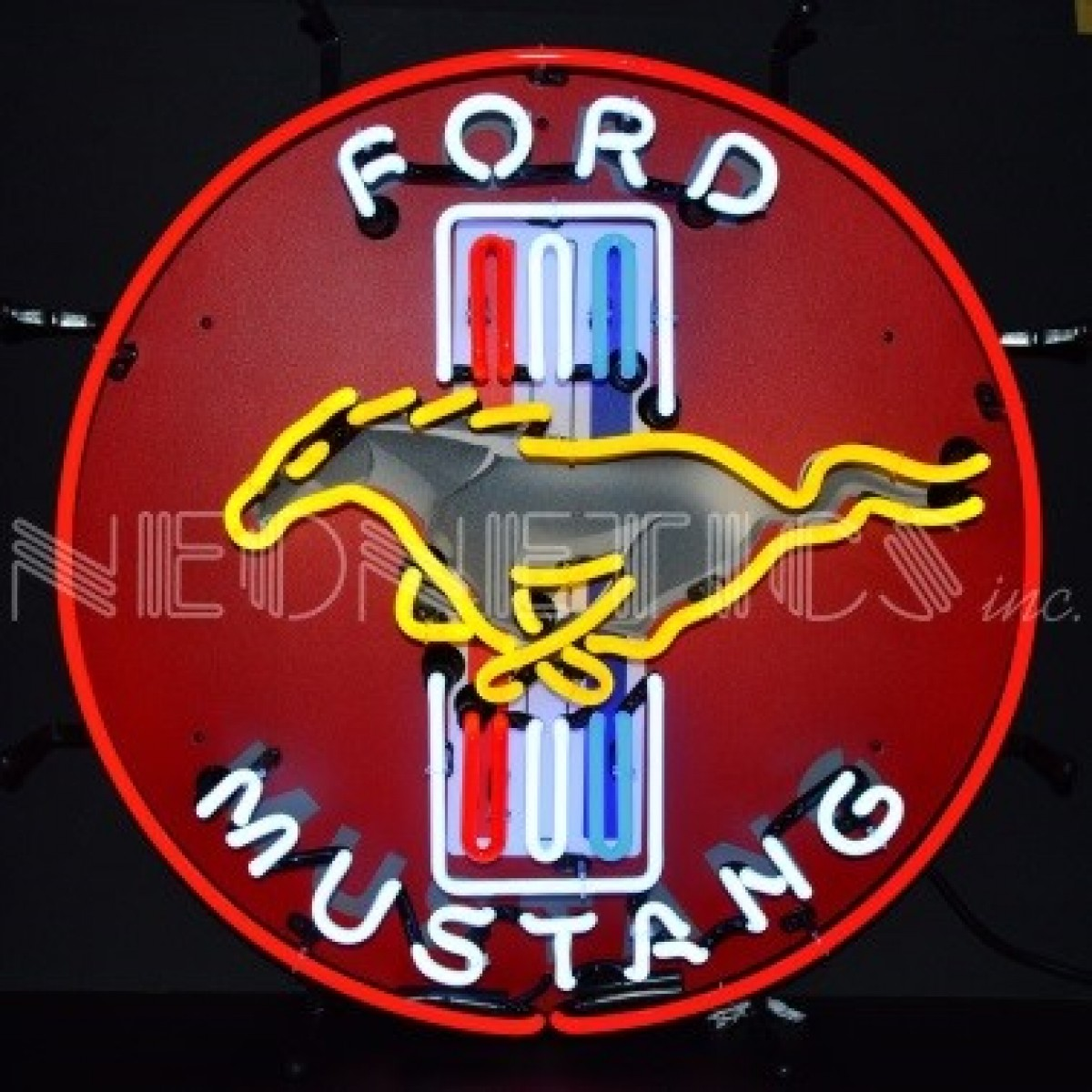 ford mustang neon sign  60cm round