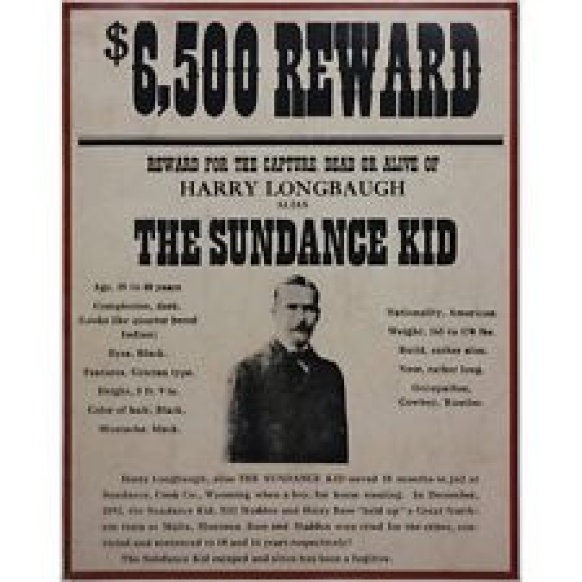 The Sundance Kid Framed Wanted Poster History