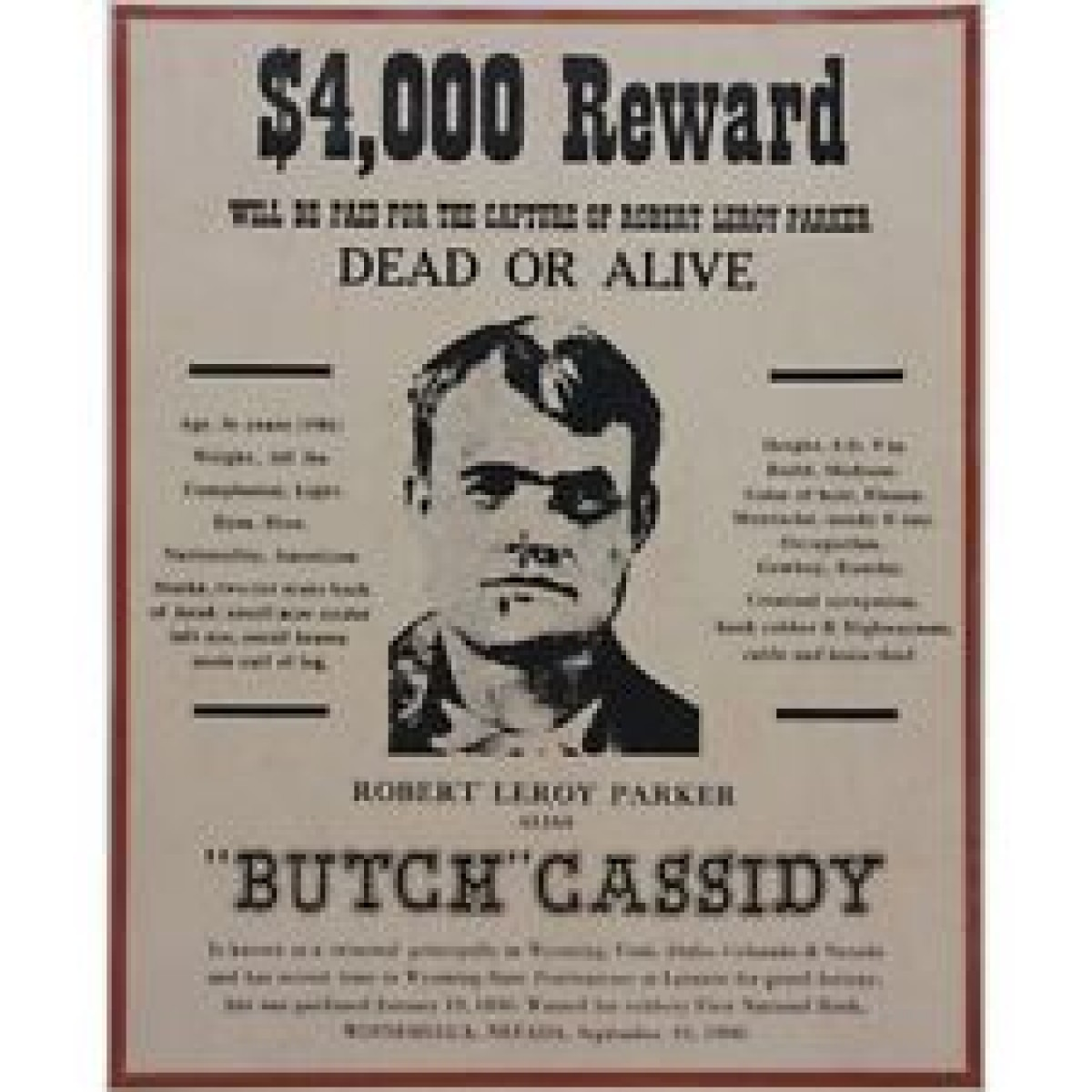Butch Cassidy Framed Wanted Poster History Memorabilia