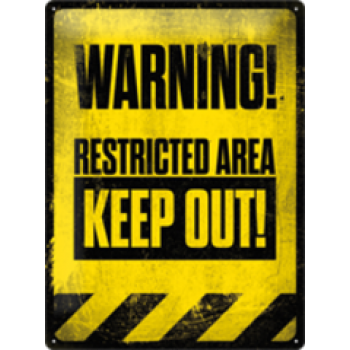 WARNING RESTRICTED AREA TIN SIGN