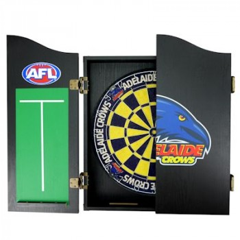 AFL ADELAIDE DART BOARD WITH CABINET