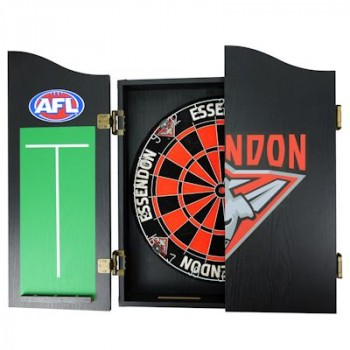 AFL ESSENDON DART BOARD WITH CABINET