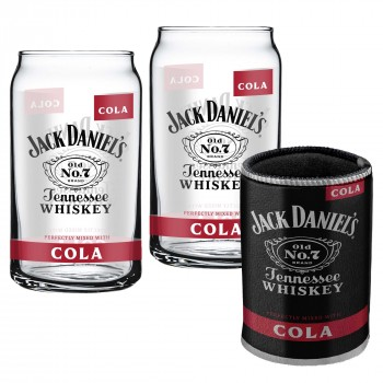 JACK DANIEL'S SET OF 2 CAN GLASSES WITH CAN COOLER