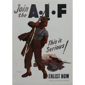 THE AUSTRALIAN AIF ENLISTMENT FRAMED POSTER