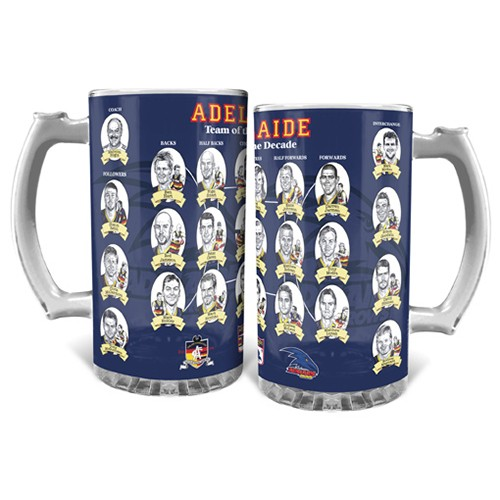 Man Cave Gifts Adelaide : Afl adelaide team of the decade glass stein