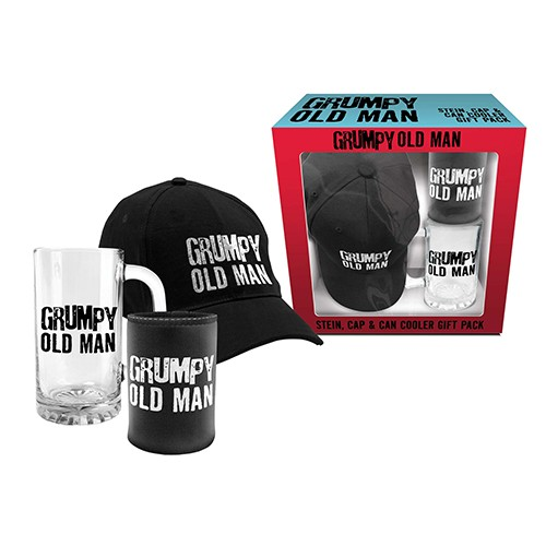 Man Cave Gifts Reviews : Grumpy old man gift pack stubby holders barware