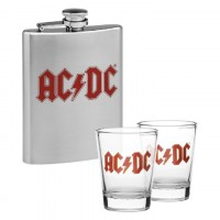 AC/DC HIP FLASK & 2 SHOT GLASSES SET