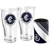 AFL CARLTON SET OF TWO PINT GLASSES & CAN COOLER