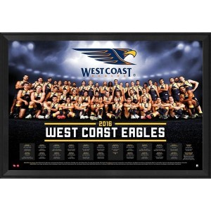 WEST COAST EAGLES OFFICIAL 2016 TEAM POSTER FRAMED