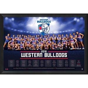 WESTERN BULLDOGS OFFICIAL 2016 TEAM POSTER FRAMED