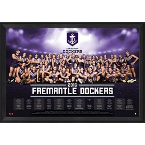 FREMANTLE DOCKERS 2016 TEAM POSTER FRAMED