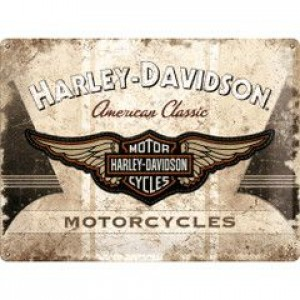 HARLEY DAVIDSON WINGS EMBOSSED TIN SIGN