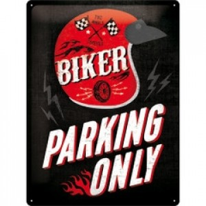 BIKER PARKING ONLY HELMET TIN SIGN
