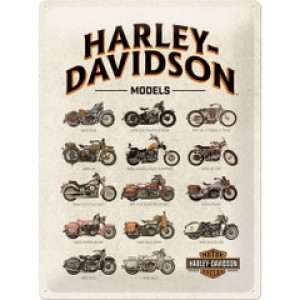 HARLEY DAVIDSON MODEL CHART TIN SIGN