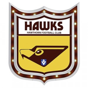 AFL HAWTHORN LIGHT-UP TIN SIGN