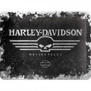 HARLEY DAVIDSON SKULL PARKING ONLY EMBOSSED TIN SIGN