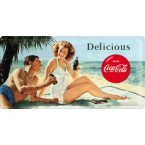 COCA COLA BEAUTIES LONG TIN SIGN