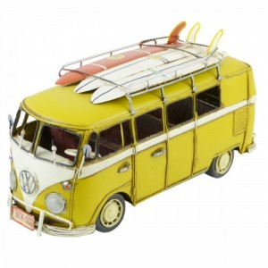 YELLOW VW VAN WITH SURFBOARDS