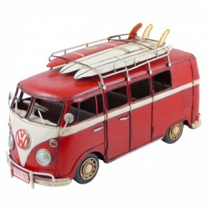 RED VW VAN WITH SURFBOARDS