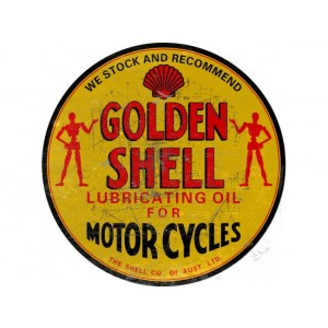 GOLDEN SHELL MOTOR CYCLES STEEL SIGN