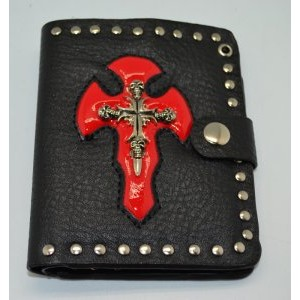 SKULLS CROSS LEATHER WALLET