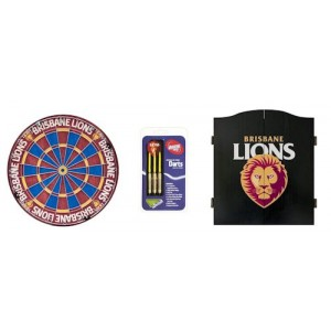 AFL BRISBANE DART BOARD WITH CABINET