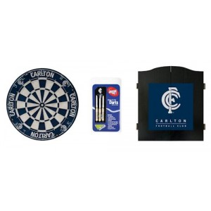 AFL CARLTON DART BOARD WITH CABINET
