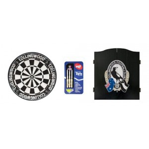 AFL COLLINGWOOD DART BOARD WITH CABINET