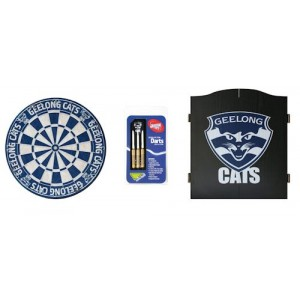 AFL GEELONG DART BOARD WITH CABINET