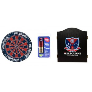 AFL MELBOURNE DART BOARD WITH CABINET