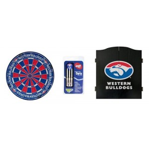AFL WESTERN BULLDOGS DART BOARD WITH CABINET