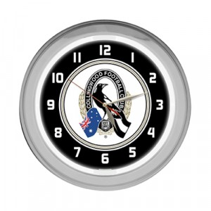 AFL COLLINGWOOD NEON CLOCK