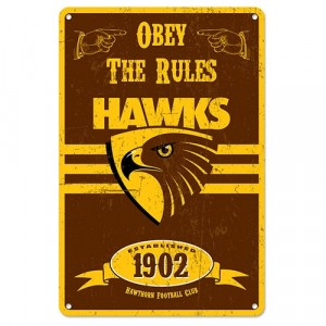 AFL HAWTHORN RETRO TIN SIGN