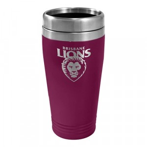 AFL BRISBANE LIONS STAINLESS STEEL TRAVEL MUG