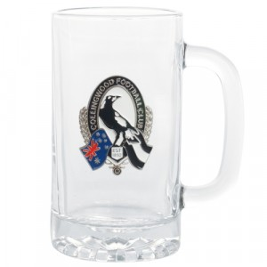 AFL COLLINGWOOD STEIN WITH METAL BADGE