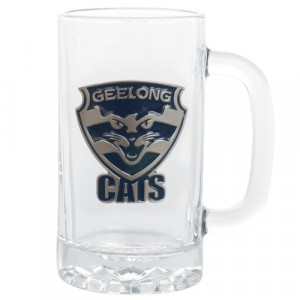 AFL GEELONG STEIN WITH METAL BADGE