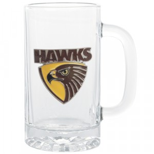 AFL HAWTHORN STEIN WITH METAL BADGE