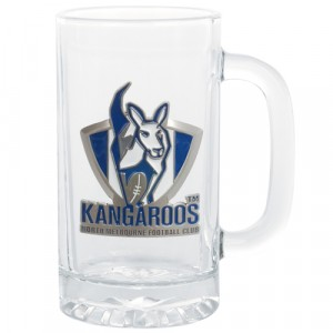 AFL NORTH MELBOURNE STEIN WITH METAL BADGE
