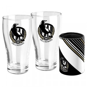 AFL COLLINGWOOD SET OF TWO PINT GLASSES & CAN COOLER