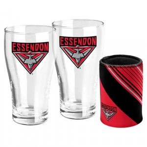 AFL ESSENDON SET OF TWO PINT GLASSES & CAN COOLER