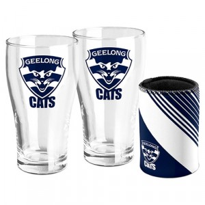 AFL GEELONG SET OF TWO PINT GLASSES & CAN COOLER