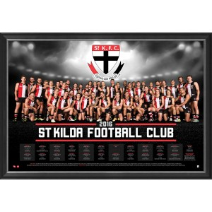 ST KILDA FOOTBALL CLUB 2016 FRAMED TEAM POSTER
