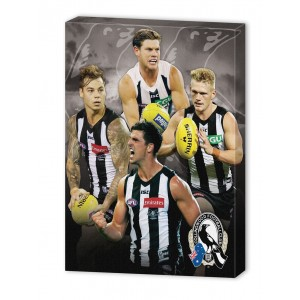 AFL COLLINGWOOD 4 PLAYER CANVAS