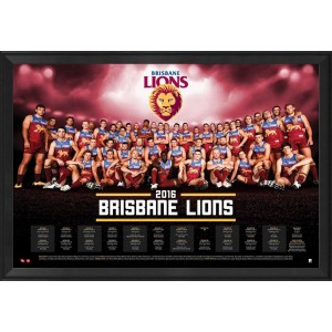 BRISBANE LIONS 2016 TEAM POSTER FRAMED