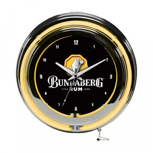 BUNDABERG RUM DOUBLE NEON CLOCK