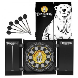 BUNDABERG RUM DARTBOARD WITH CABINET