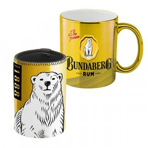 BUNDABERG RUM METALLIC MUG & STUBBY HOLDER