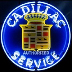 CADILLAC AUTHORIZED SERVICE NEON SIGN (60CM ROUND)